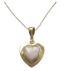Vintage 14kt Gold Opal & Diamond Heart Pendant
