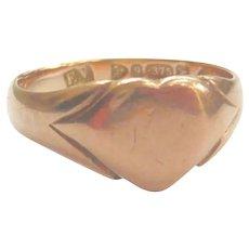 Edwardian 9ct Rose Gold Petite Heart Ring