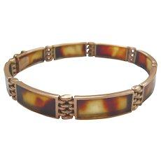 Edwardian 9ct Gold Tortoiseshell Panel Bracelet