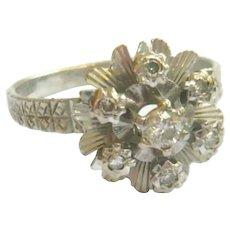Vintage 18kt White Gold Diamond Flower Ring