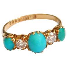 Edwardian 18ct Gold Turquoise & Diamond Ring