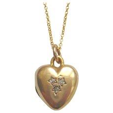 Edwardian 15ct Gold Diamond Star Heart Locket