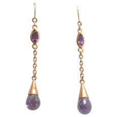 Art Deco 9ct Gold Amethyst Drop Earrings