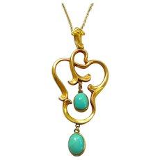 Art Nouveau 10kt Gold Turquoise Pendant