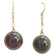 Edwardian 9ct Gold Cabochon Garnet Drop Earrings