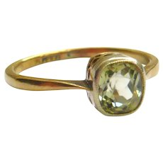 Edwardian 18ct Gold Citrine Solitaire Ring
