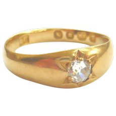 Victorian 18ct Gold Diamond Solitaire Gypsy Ring