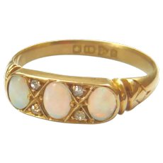 Edwardian 18ct Gold Opal & Diamond Trilogy Ring