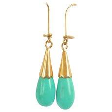 Vintage 18kt Gold Turquoise Teardrop Earrings
