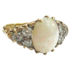 Victorian Large Opal & Diamond 'Eye' Ring