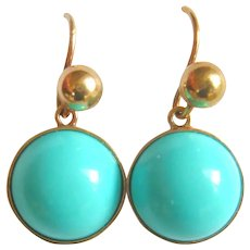 Vintage 9ct Gold Synthetic Turquoise Drop Earrings
