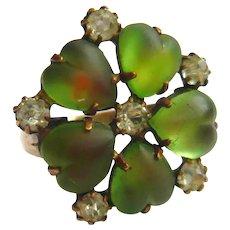 Victorian Heart Flower Green Saphiret Brass Ring