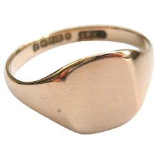 Art Deco 9ct Gold Plain Signet Ring