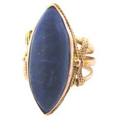 Vintage 14kt Gold Lapis Lazuli Marquise Ring