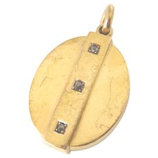 Victorian Large 15ct Gold Rose Diamond Locket