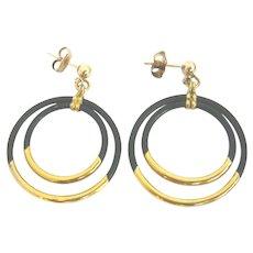 Antique 18ct Gold Elephant Hair Hoop Earrings