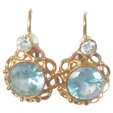 Vintage 14kt Gold Pale Blue Spinel Earrings