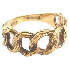 Vintage 9ct Gold Chain Design Half Hoop Ring