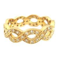 Vintage 18ct Gold Diamond Chain Design Ring
