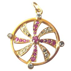 Late Victorian 18ct Gold & Diamond Wheel Pendant