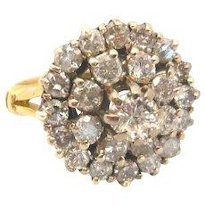Vintage 18ct Gold Large Diamond Cluster Ring