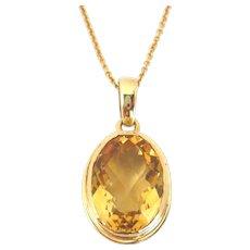 Vintage 14kt Gold Faceted Citrine Pendant