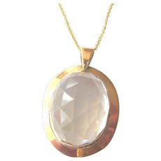 Early 20th Century 9ct Gold Faceted Rock Crystal Pendant