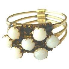 Vintage 14kt Gold Opal & Sapphire Harem Ring