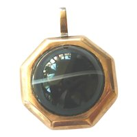Victorian 9ct Gold Banded Agate Octagonal Locket
