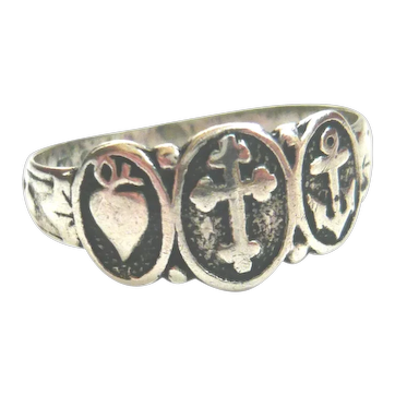 Antique Sterling Silver Faith, Hope & Charity Ring