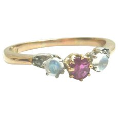 Antique 15ct Gold Ruby, Moonstone & Diamond Ring