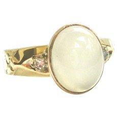 Vintage 14kt Gold Moonstone & Diamond Ring
