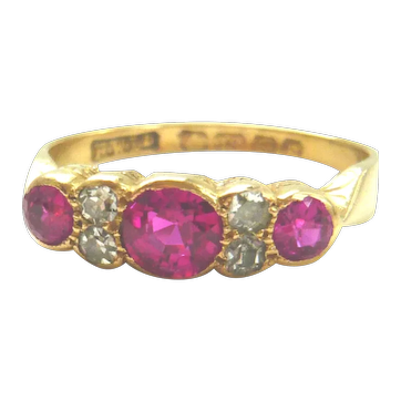 Edwardian 18ct Gold Ruby & Diamond Trilogy Ring