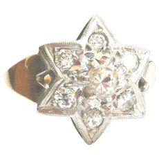 Vintage 9ct Gold Diamond Star Ring