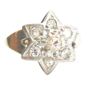 Vintage 9ct Gold Diamond Star Ring