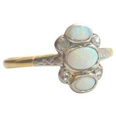 Edwardian 18ct Gold Unusual Opal & Diamond Trilogy Ring