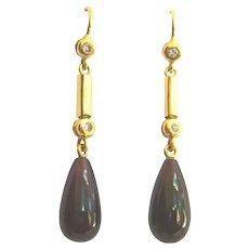 Vintage 14kt Gold Garnet & Diamond Drop Earrings