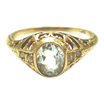 Antique 14kt Gold Aquamarine & Pearl Ring