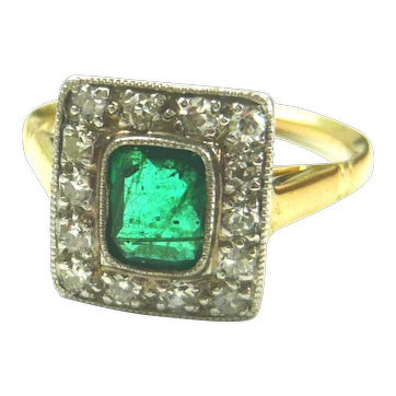 Art Deco 18kt Gold Emerald & Diamond Ring
