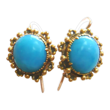 Victorian 18ct Gold Turquoise Glass Earrings