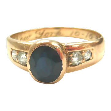 Art Deco 14kt Gold Sapphire & Diamond Gypsy Ring