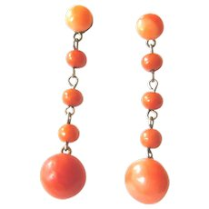 Victorian Silver Gilt Coral Drop Earrings