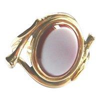Victorian 9ct Gold Snake Sardonyx Ring