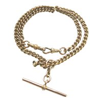 """Edwardian 9ct Gold Curb Link Watch Chain Necklace 15 1/2"""""""