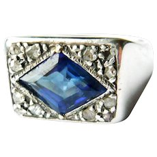Vintage Diamonds & Synthetic Sapphire Cocktail Ring