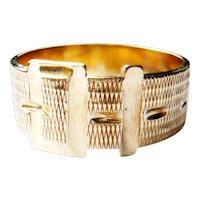 Vintage 9kt Gold Textured Buckle Motif Unisex Ring