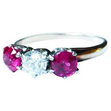 Edwardian 14kt Gold Diamond & Synthetic Ruby Trilogy Ring