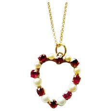 Edwardian 15ct Gold Red Spinel & Pearl Heart Pendant