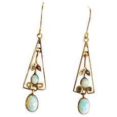 Edwardian 9ct Gold Opaline & Faux Pearl Drop Earrings