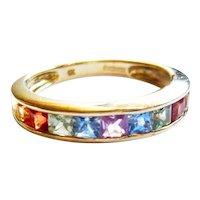 Vintage 9kt Gold Rainbow Sapphire Half Eternity Ring